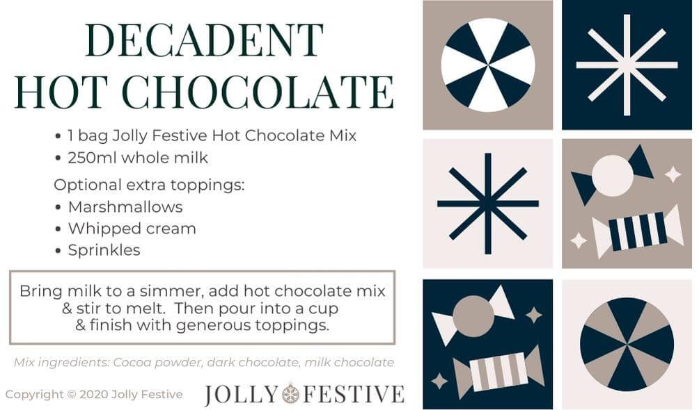 Decadent Hot Chocolate Label