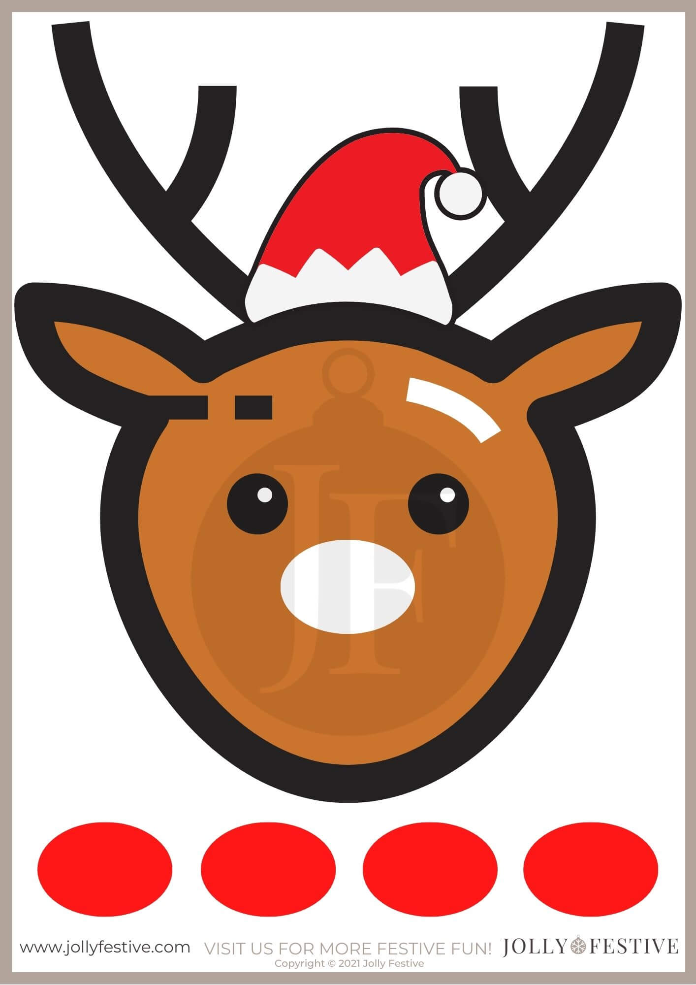 Pin the Nose on Rudolph A4 Printable