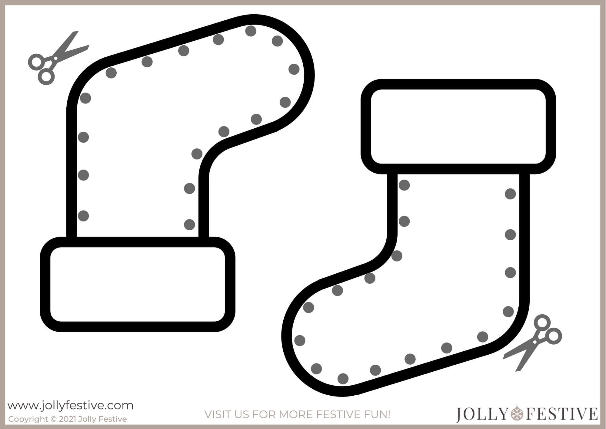 Stocking Cut-Outs for Christmas Crafts for Toddlers