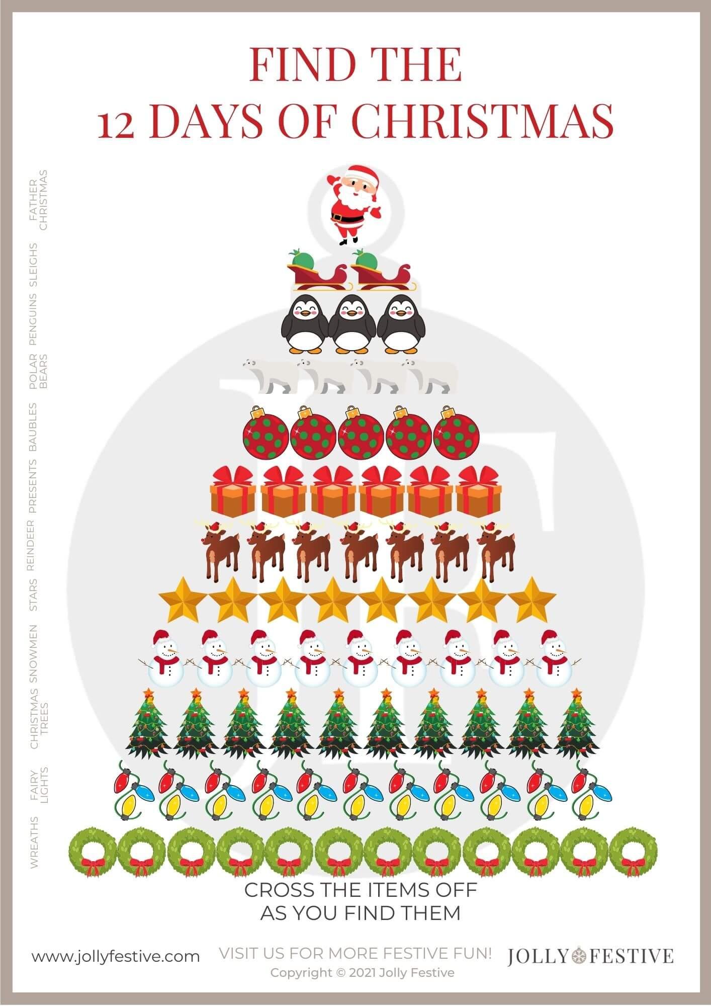 The 12 Days of Christmas Scavenger Hunt Worksheet