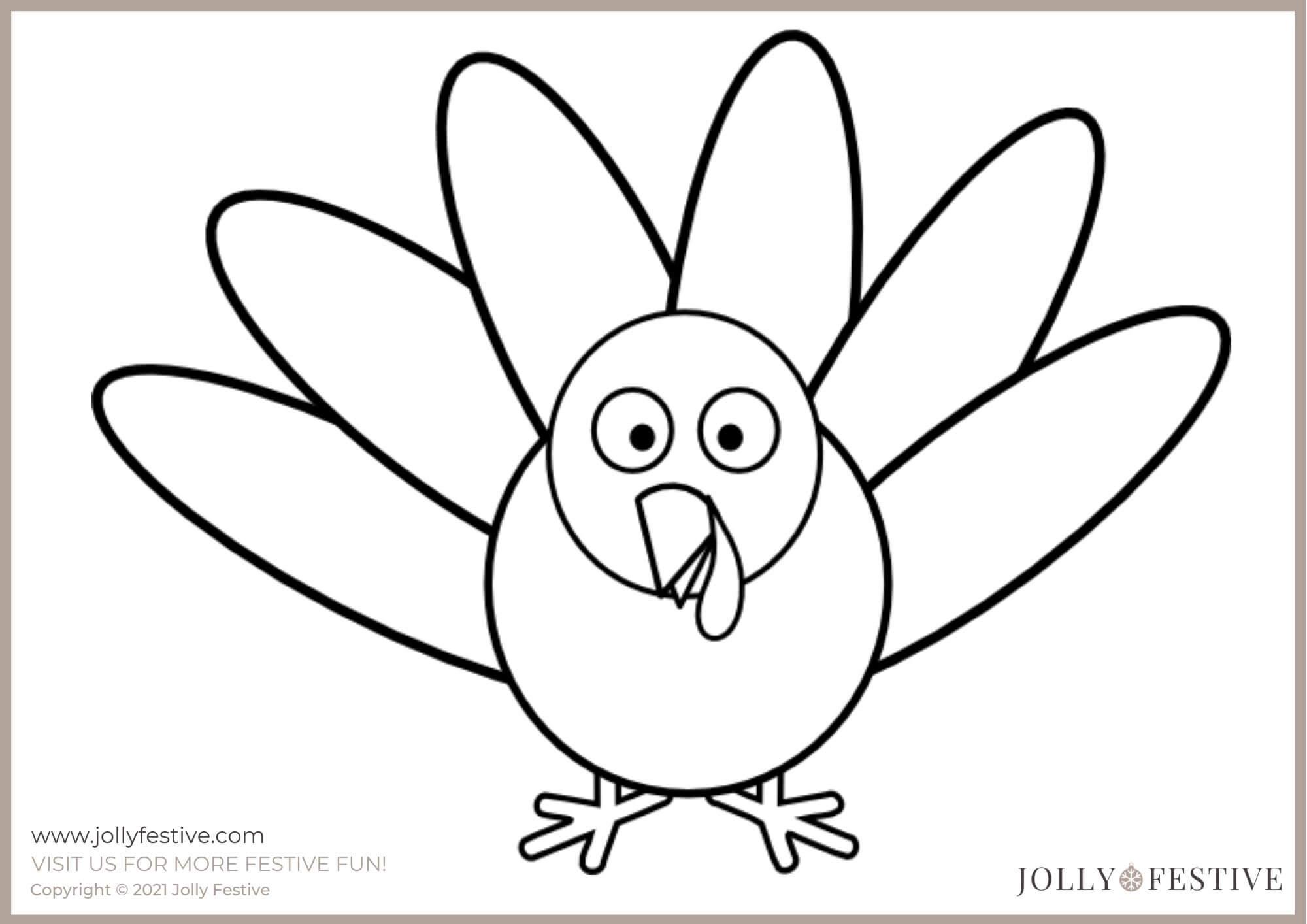 Jolly Festive Turkey Outline A4 Printable
