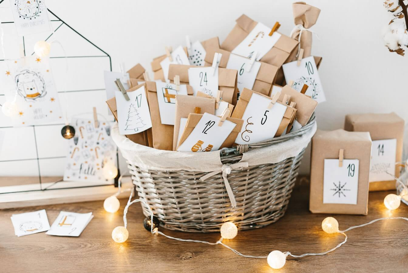 Basket of Brown Bags For Advent Calendar