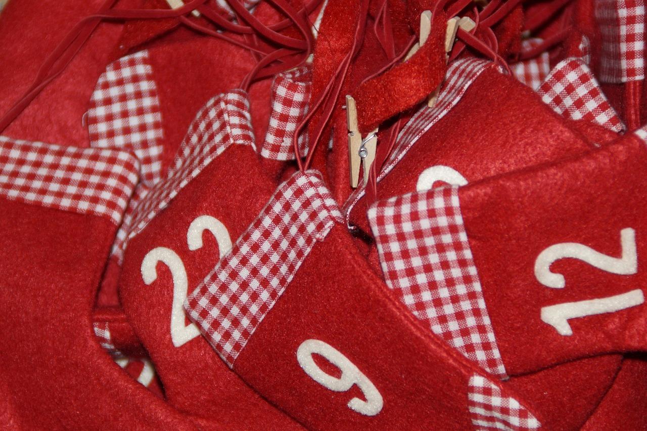 Jumble of Mini Red Fabric Stocking Advent Calendar