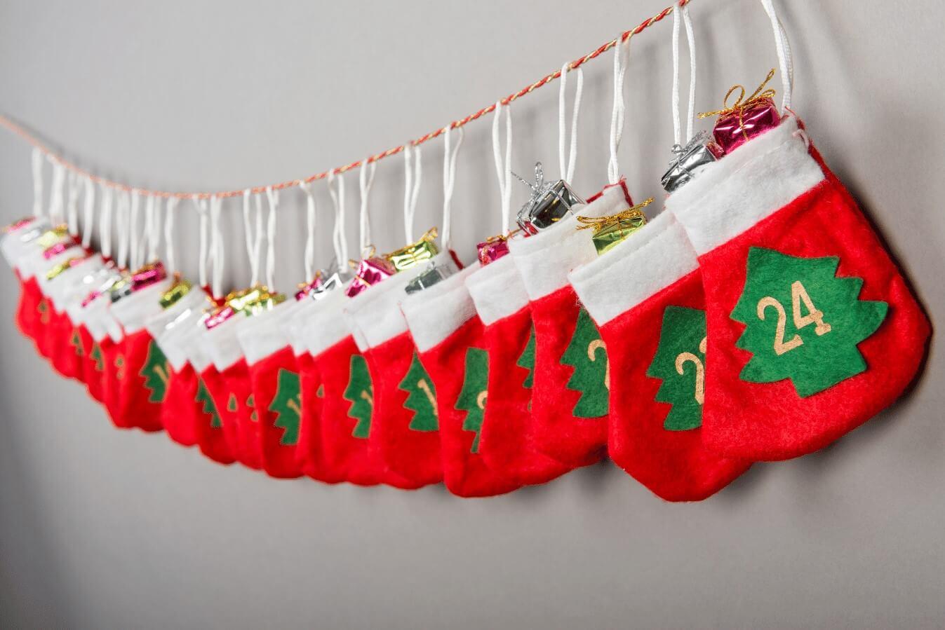 Mini Stocking Garland Homemade Advent Calendar