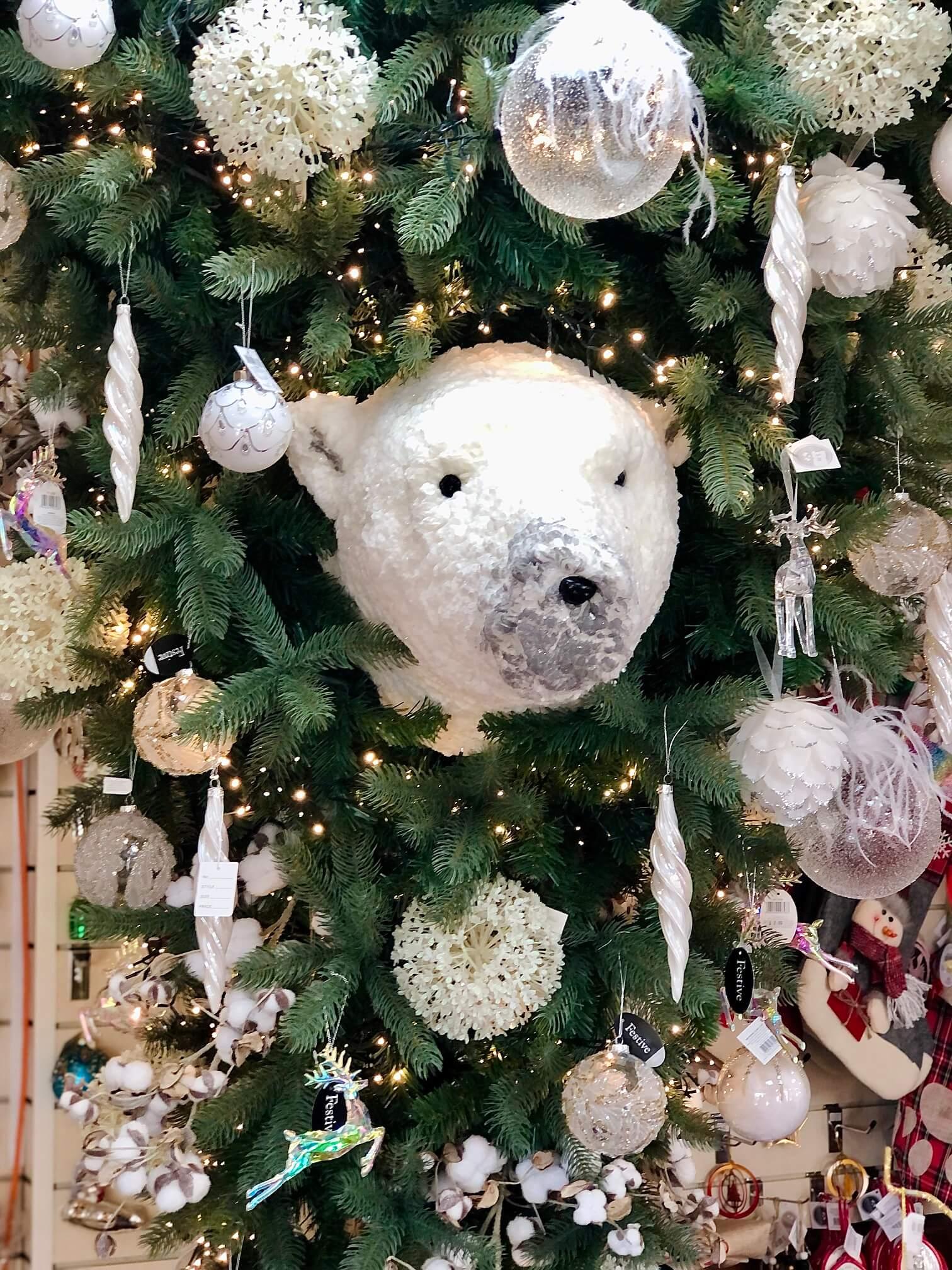 Polar Bear Head in Inverted Christmas Tree in Christmas Perks