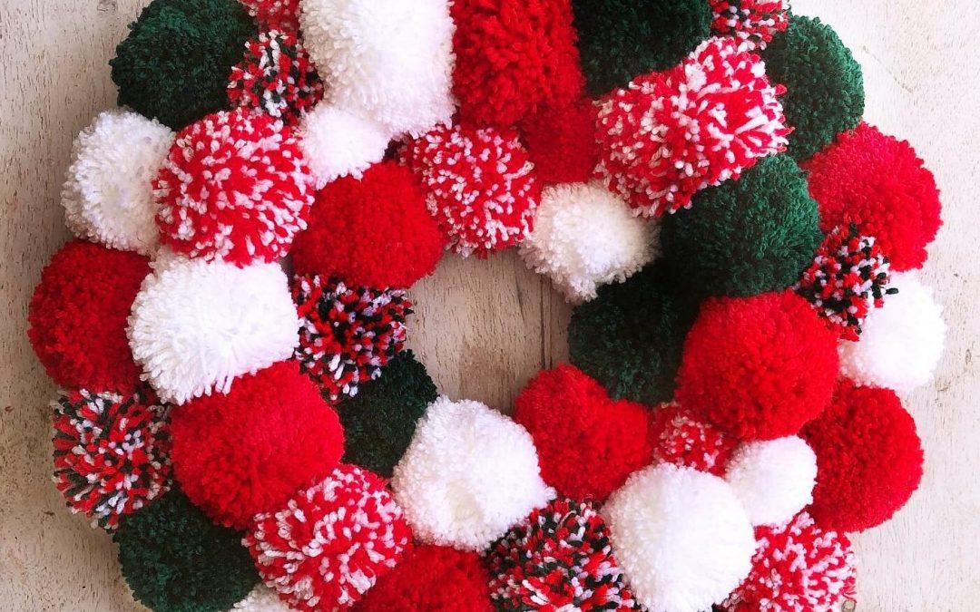 How To Make A Candy Cane Pom Pom Christmas Wreath