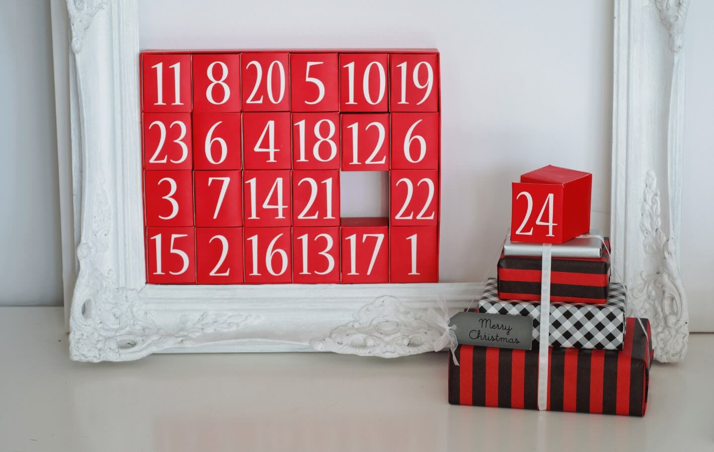 Red Advent Calendar of Boxes