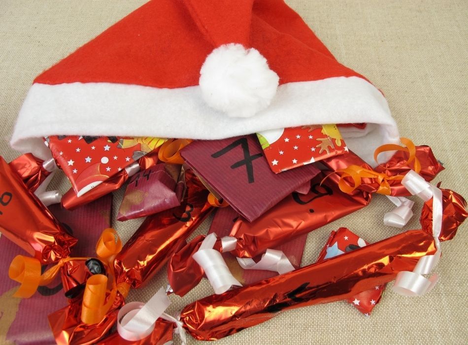 Santa's Hat Advent Calendar of Wrapped Numbered Gifts